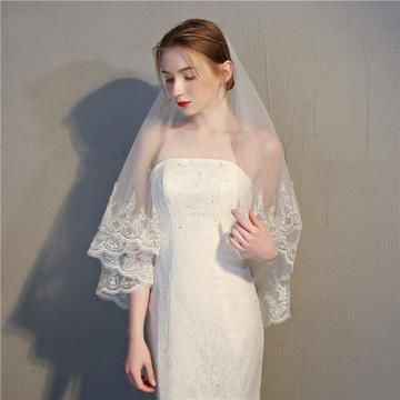 Double layer veil with sequined lace edging