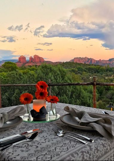 Our newlyweds enjoyed a private dinner on the casita patio just after sunset.  Sun Cliff's chef...