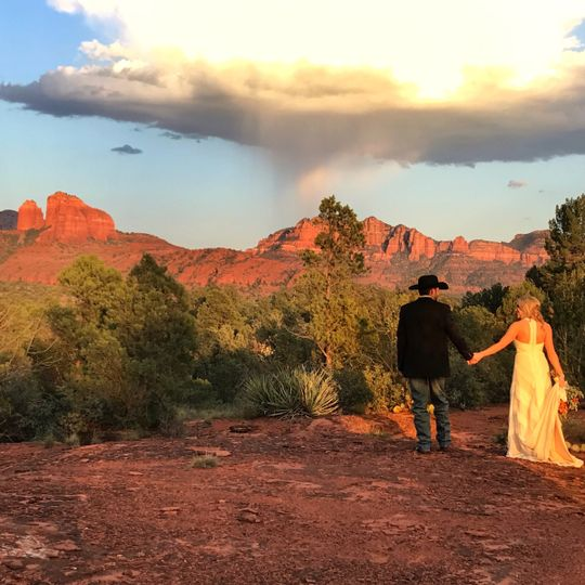 Magical Cathedral Rock backdrop at Red Rock Ranch. Sun Cliff offers this beautiful location as well...
