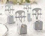 Miniature silver chair favor box with heart charm -Monogram available.