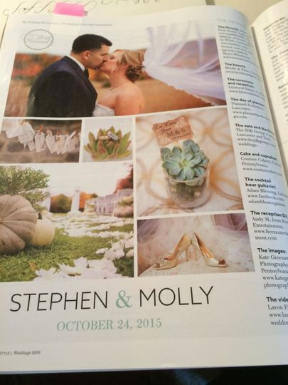 Feature in Lancaster Magazine Susquehanna Style / bridal edition