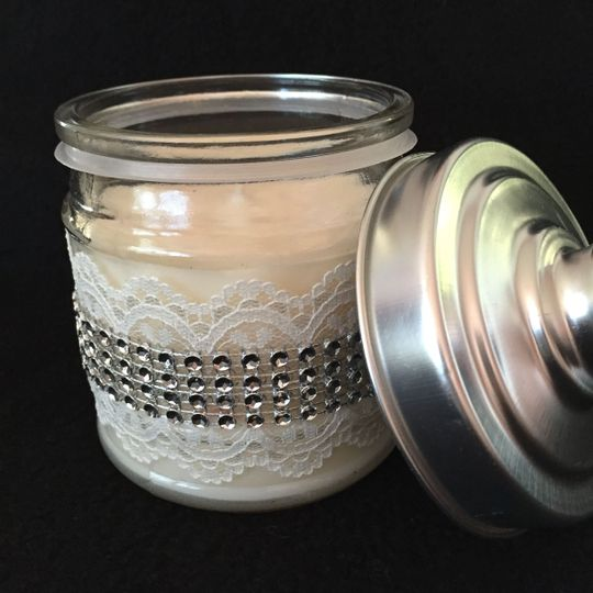 Lavender - clear gems & lace ribbon decorate this 4 oz candle