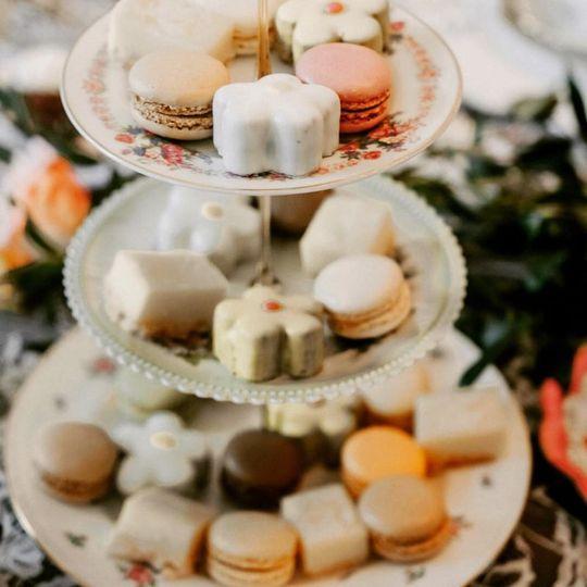 A three-tiered dessert stand