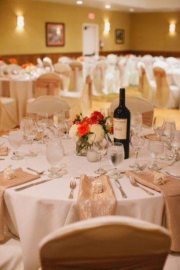 The Orchid Ballroom set for a wedding reception at the Oregon Garden Resort.