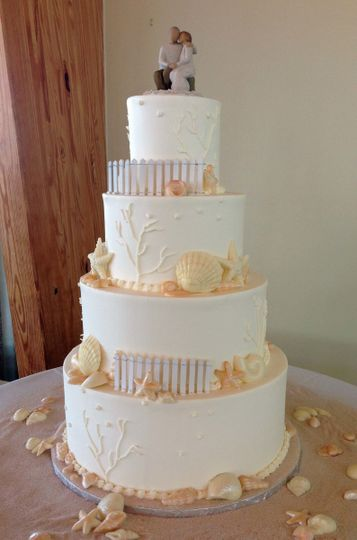 Beach wedding cake with figurines on top