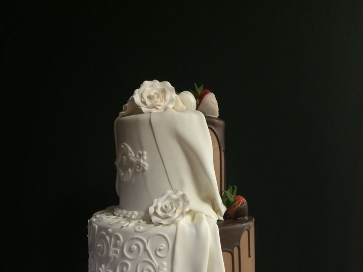 Tmx 1498935481780 Wedding Cakes Half And Half 1 Northfield, New Jersey wedding cake