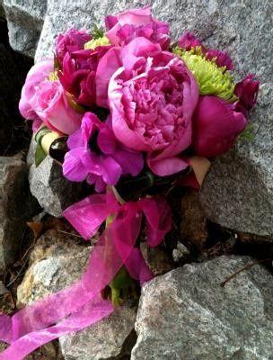 Hot pink Peonies, anemones,roes & green fugi
