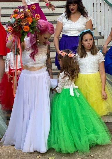 Wedding dress & flower girls
