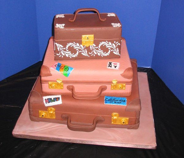 This 3 tiered stacked suitcase cake was a cake show entry.  It is covered in fondant with fondant...