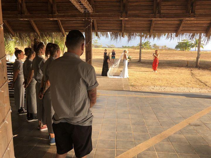 Waiters admiring bride