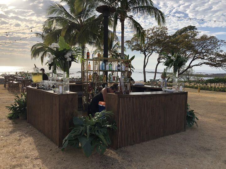 Beachfront bar set up