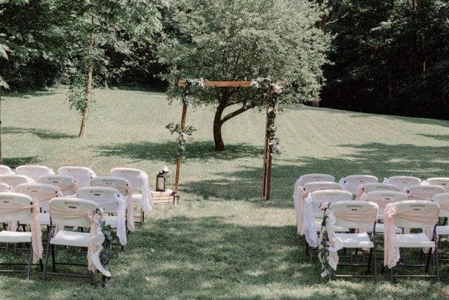 Ceremony site with decorated a
