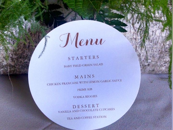Just one of The Black Stallions menu's created for a special Bride and Groom