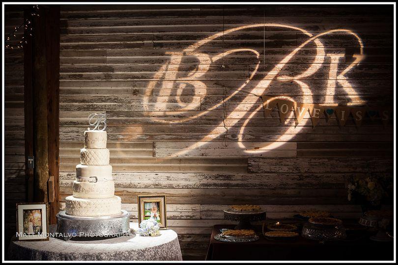 Wedding cake and monogram lights