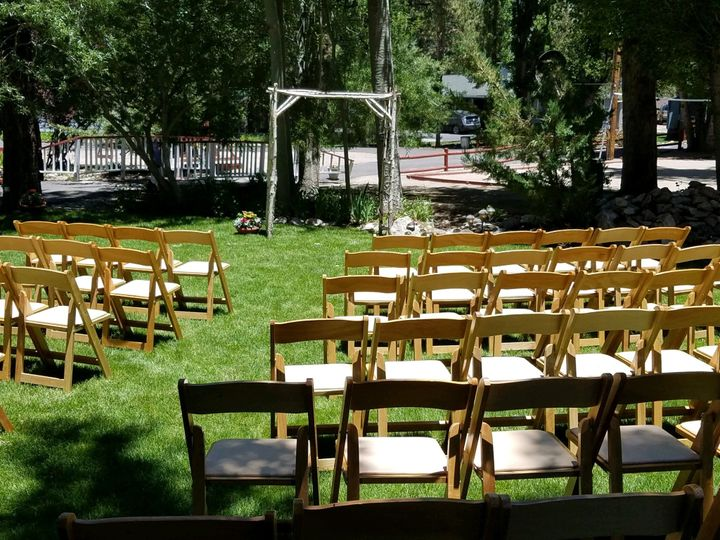 Ceremony seating, and arch