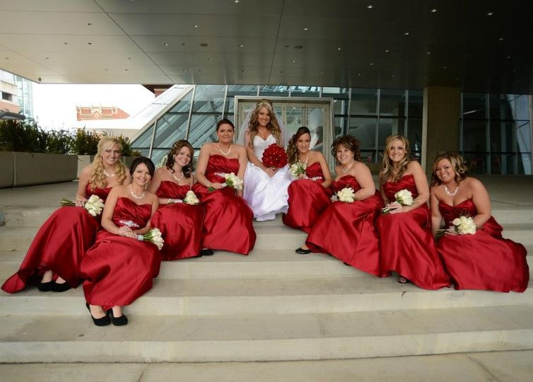 Bride and bridesmaids on the steps