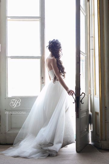 Bride stepping outside