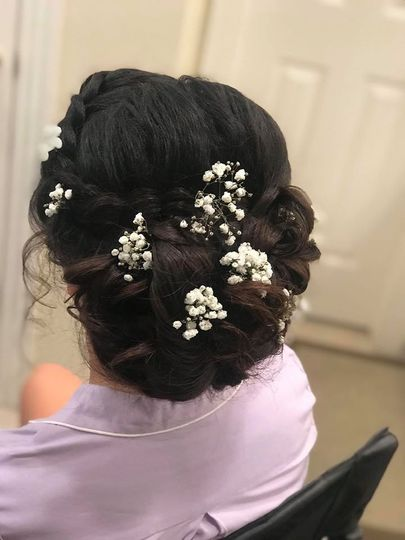 Botanical accents in updo