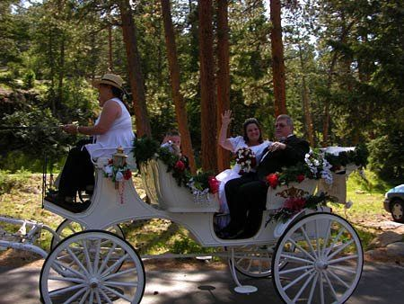 Newlyweds in the bridal car