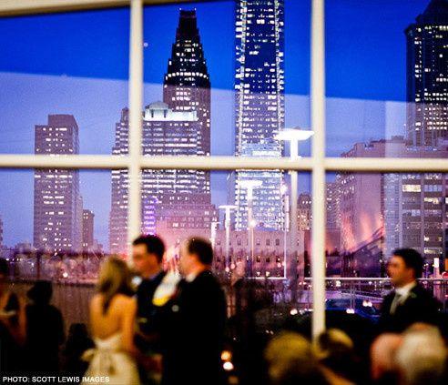 Cira Centre Atrium with a sweeping view of the Philadelphia skyline.