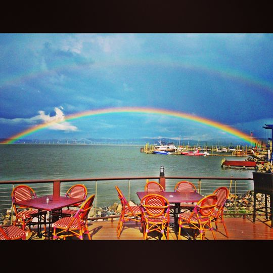Double Rainbow over the Hudson on our Outdoor Deck