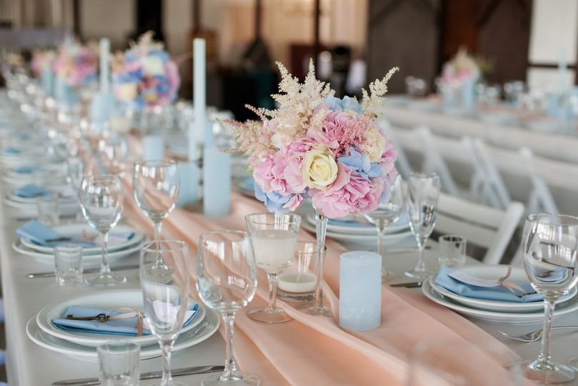 newsouth event rentals pink blue white wedding col