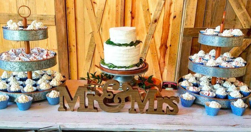 Wedding cake and cupcake table