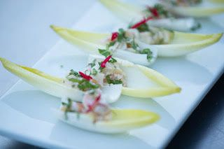 Endive with apple compote and goat cheese