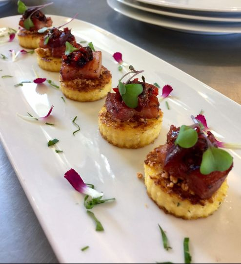 Pork belly with cherry compote