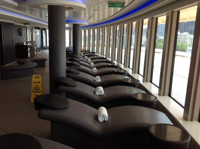 NCL - Breakaway Heated spa lounge chairs with a view of the ocean
