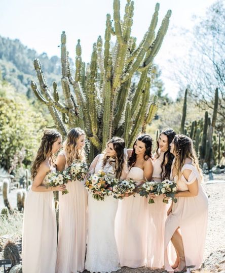 Bride and bridesmaids in the desert