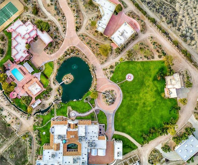 The Pond Estate Aerial Photo - 12 acres - 3 homes - 3 luxury car garages