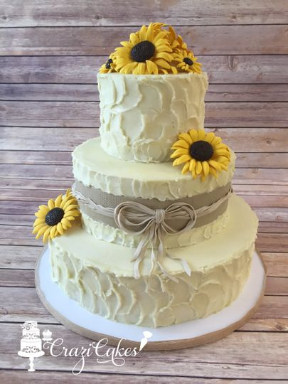 Textured Buttercream, Handmade Sugar Sunflowers & Edible Burlap
