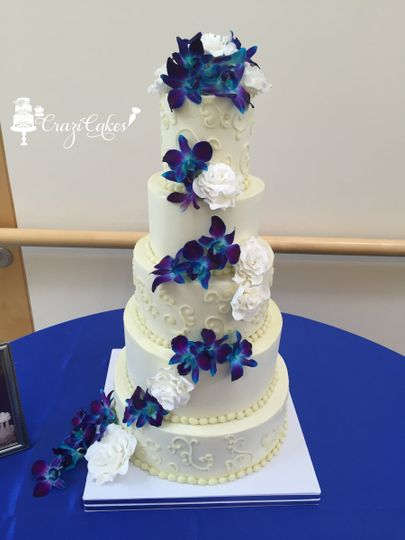 Handmade Sugar Roses & Fresh Blue Orchids