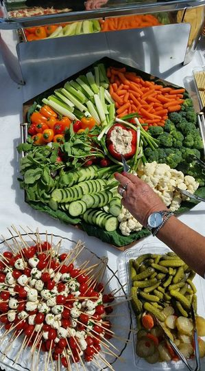 Garden fresh veggie tray with garden dip