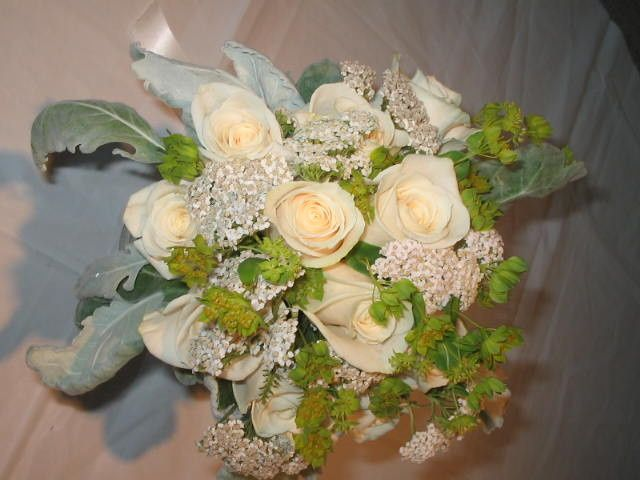 Plain white floral arrangement