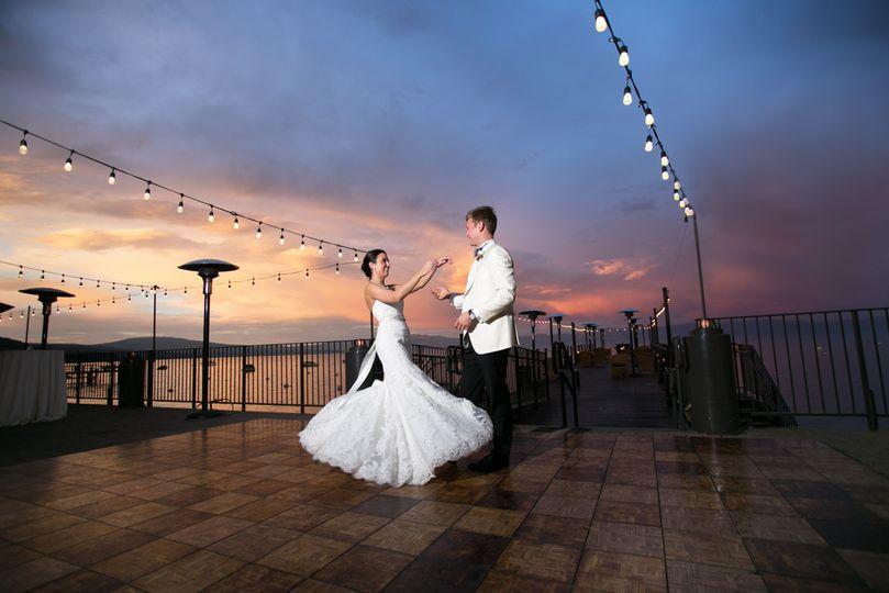 Sunset wedding photo from West Shore Cafe, Lake Tahoe