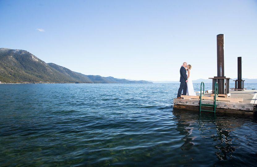 Hyatt Lake Tahoe pier wedding