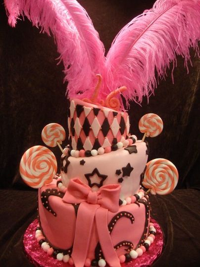 Sweet 16 pink and black cake