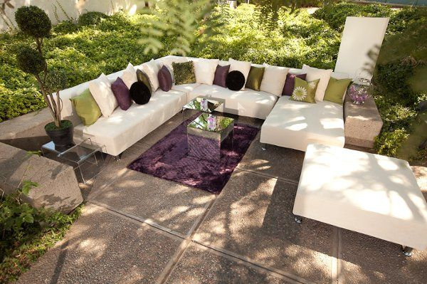 Patio Lounge with Sectional & accent pillows