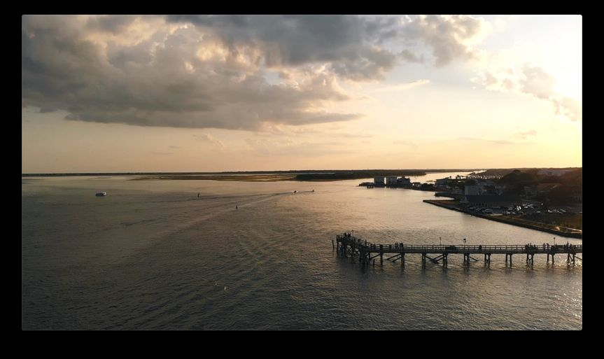 Aerial footage of wedding location