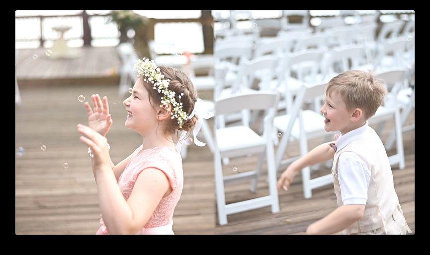 Kids laughing at wedding