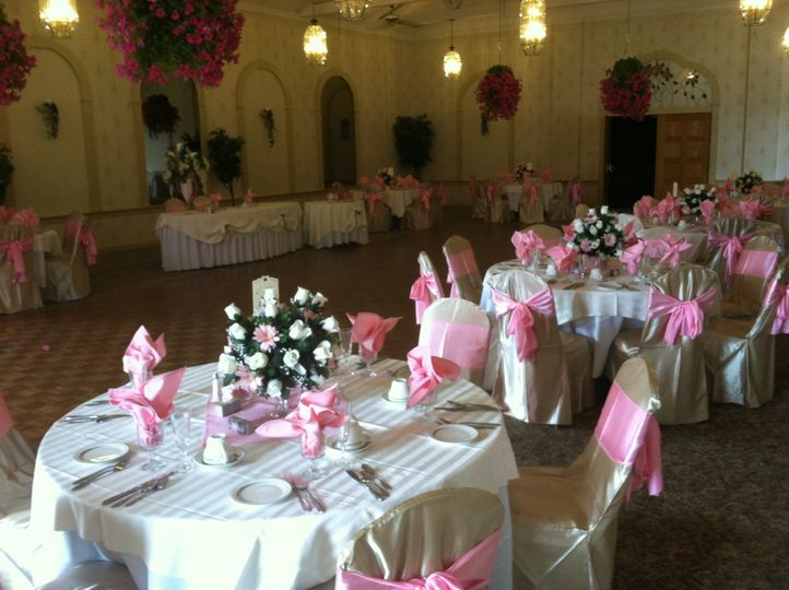 Reception hall and pink decor