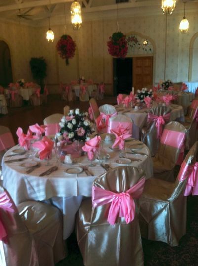 Pink chair ribbons