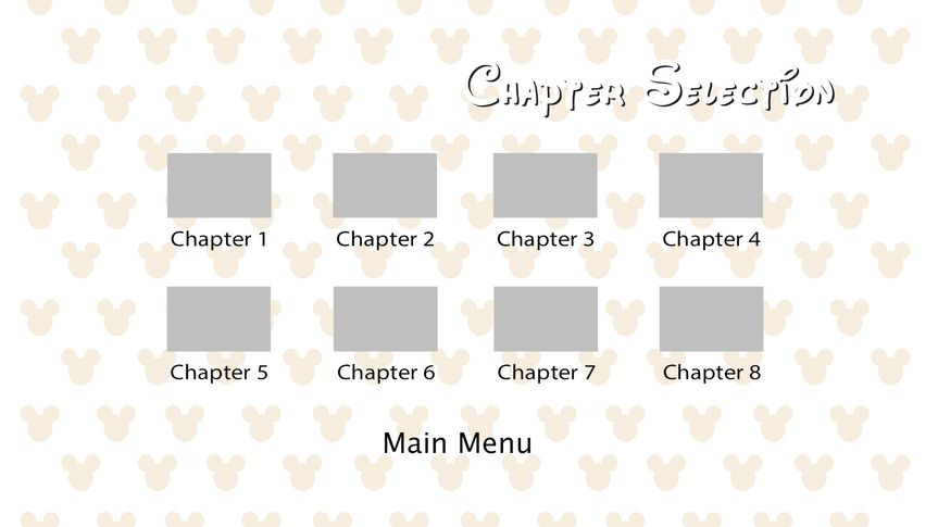 Sample of Chapter Selection Menu, with animated buttons