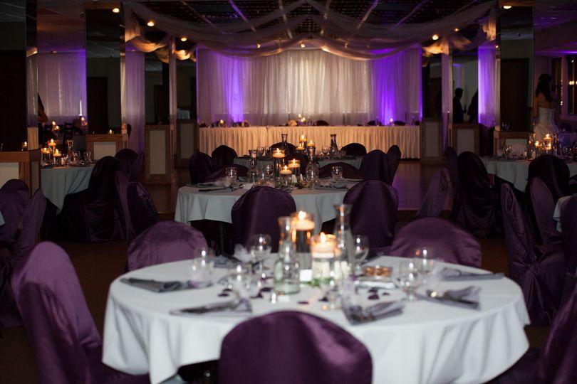 purple wedding reception lightin