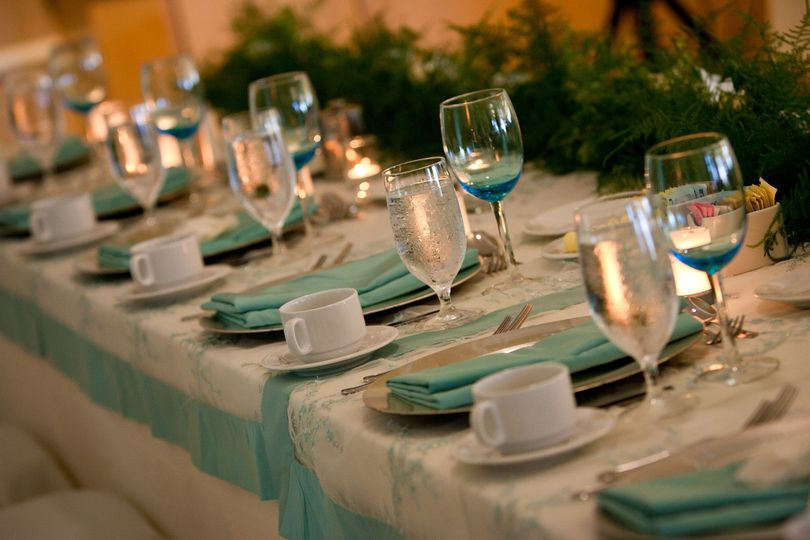 Long table setup with centerpiece