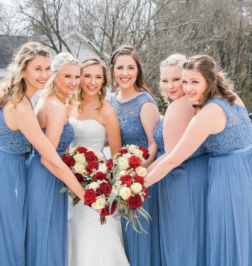 Posing with the bridesmaids