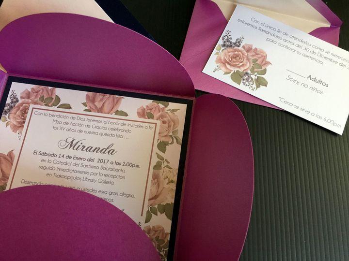 Petal fold invitation with RSVP card
