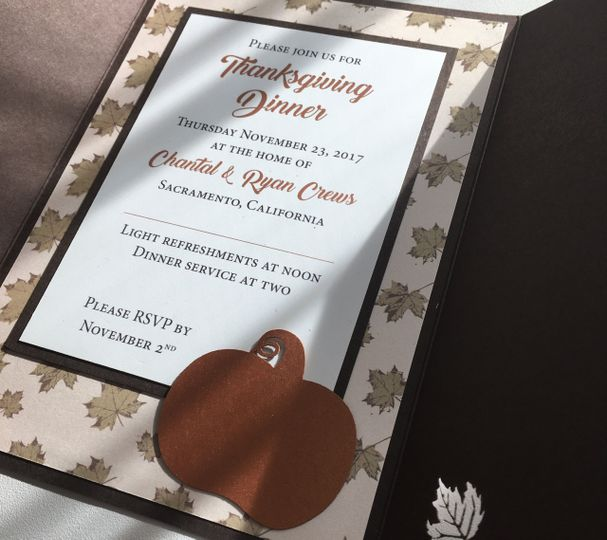 Custom printed invitation mat with laser cut pumpkin
